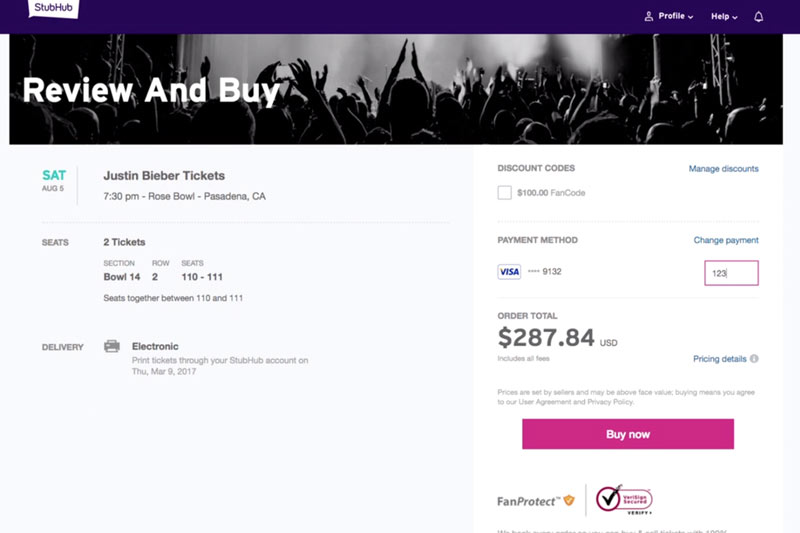 stubhub web interface