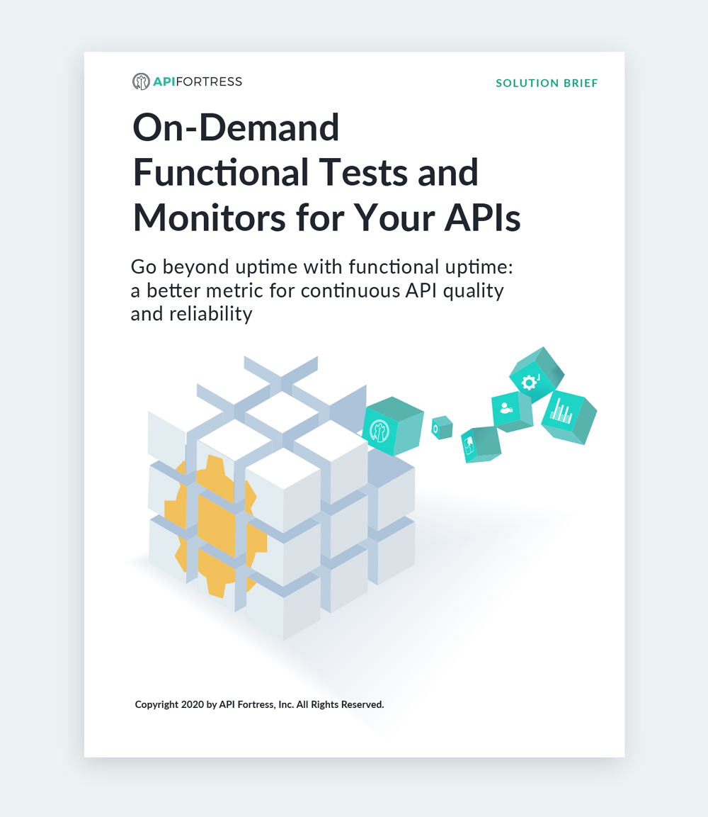 On-demand functional tests and monitors for your APIs. Go beyond uptime with functional uptime: a better metric for continuous API quality and reliability